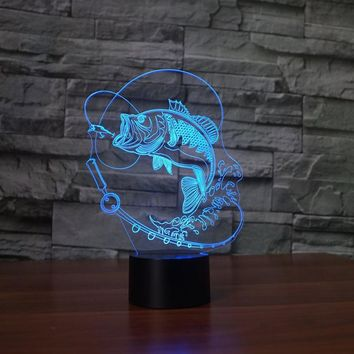 Bass Fly Fishing 3D LED Night Light Lamp