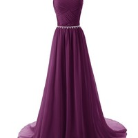 Dressystar Elegant Chiffon Beads Long Prom Dresses 2014 Pleated Party Gowns Size 18W Grape