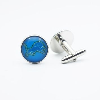 10Pair Sports Team Football Detroit Lions Glass Time Gems Jewelry Cufflinks For Women Men Gift Fashion Jewelry