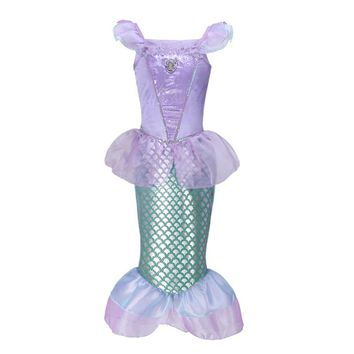 Girls Dress Fantasy Little Mermaid Cosplay Kids Summer Children Clothing Girls Ariel Princess Dress Baby Girls Carnival Clothes
