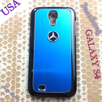 Mercedes Samsung Galaxy S4 Case Mercedes 3D metal Logo Premium Cover for S4 / i9500 - Blue