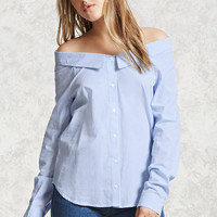 Off-the-Shoulder Pinstripe Top
