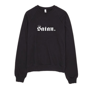 Satan - Unisex California Fleece Raglan - American Apparel - Grey - Parents, Mum, Mom, Dad Typography, Jumper, Sweater