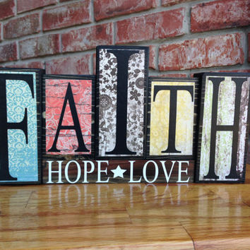 Faith Hope Love Display Blocks - 1 Corinthians 13 Wood Block Sign - Inspirational Wood Sign - Wedding Gift