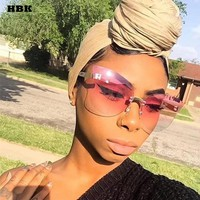 HBK Rimless Glasses Frame Oversize Alloy Tinted Color Sexy Cool Sunglasses Women Eyewear Gradient Aviator Shades oculos 2018
