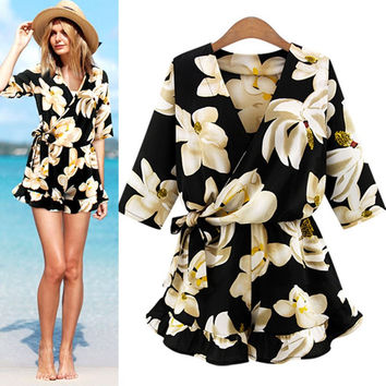 GZDL Hot Sale New Style Fashion Women's Playsuits Plus Size Rompers Floral Print Summer Jumpsuit Women Beach Jumpsuits CL2911