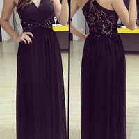 Black V-Neck Lace Cut Out Maxi Dress