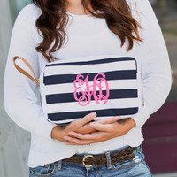 Navy Stripe Monogrammed Accessory Wristlet Bag