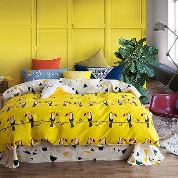 Svetanya Bird Print Bedding Sets 100% Sanded Cotton Queen King Size Bedclothes for Adults Teens