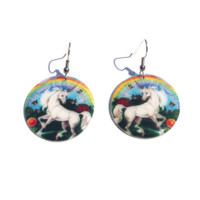 It's perfect gift for the Unicorn lovers. These are a lightweight translucent resin product, featuring circle shape with unicorn, birds, flowers and rainbow print throughout, it's weatherproof, partyproof, and proof that you know how to accesorize. Our ear