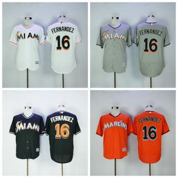 Hot Sale 16 Jose Fernandez Jersey Miami Marlins Baseball Jerseys Jose Fernandez Uniforms Cool Base All Stitched Orange White Grey Quality