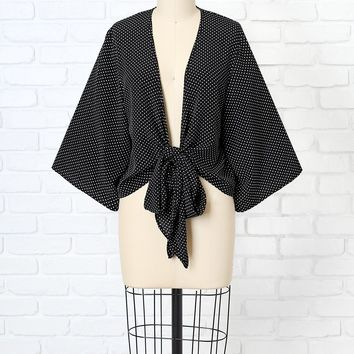 Black Polka Dot Tie Front Blouse