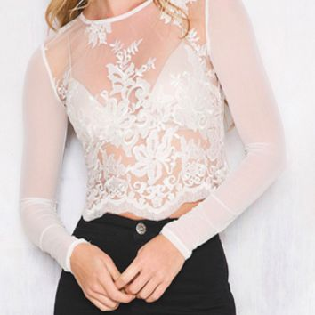 White Claudia Lace Long Sleeve Blouse