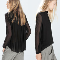 Black Chiffon Long Sleeve Blouse with Pleated Back