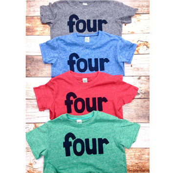 Screen printed Four in red, blue, grey, mint- boys 4th shirt with navy one kids birthday theme first party