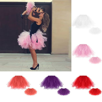 2017 New Family Matching Clothes Baby Girl Tutu Skirt 0-2 years old Girl Dance Skirt Christmas Tulle Petticoat  pink white red