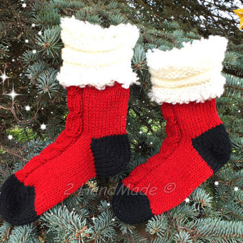 Knitted Red Socks Santa Christmas Decorations Xmas Handmade Merino Wool Women Men Teen Kids Medium Size