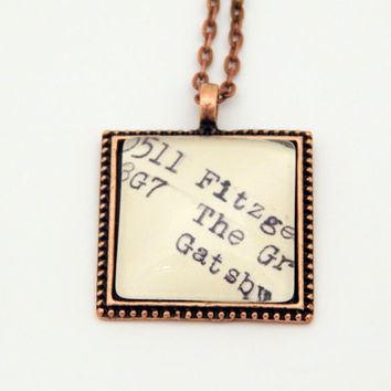 Copper Gatsby necklace, library catalog jewelry, Dewey Decimal, Gatsby jewelry, book lovers gift, literarature jewelry, librarian necklace