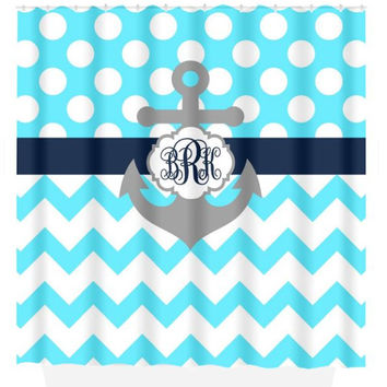 ANCHOR SHOWER CURTAIN Navy Blue Ocean Custom Monogram Personalized Nautical Bathroom Chevron Polka Dot Decor Beach Towel Plush Bath Mat