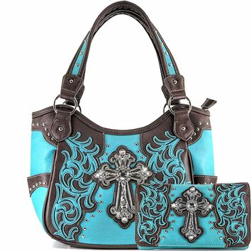 Justin West Western Floral Wing Embroidery Laser Cut Rhinestone Silver Cross Studded Shoulder Tote Handbag Purse Wallet