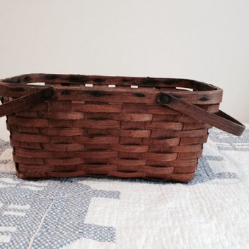 Antique Brown Basket Primitive Rustic Vintage Wooden Basket Home Decor Two Handles Cottage Chic