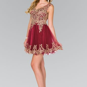 Tulle Short Dress Accented with Gold Lace GS2403