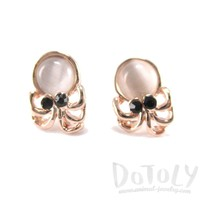 Small Octopus Squid Shaped Stud Earrings in Rose Gold with Pearl Detail