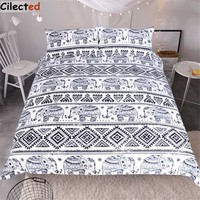Cilected Mandala Bedding Set Cotton Soft Bedclothes 3Pcs Bohemian Elephant Duvet Cover Set Queen Size With Pillowcases