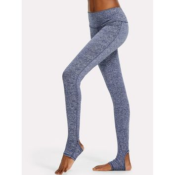 Wide Waistband Topstitch Marled Stirrup Leggings