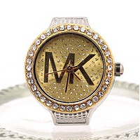 MK Fashion Women Men Personality Letter Diamond Water Drill Ring Watch Golden I12549-1