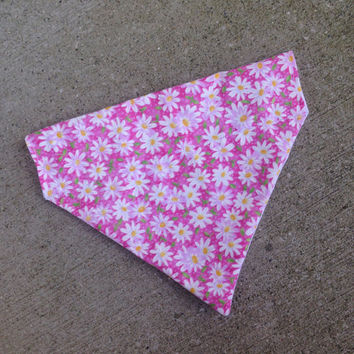Pink Daisy Girl | Slip Over the Collar Dog Bandana | Spring | Fashion Bandana | Cat Bandana | Pattern Bandana | Fun Bandana | Dog Apparel