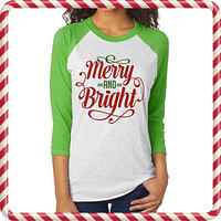 Merry and Bright Christmas Baseball Tee | Christmas Raglan | Merry and Bright Shirt