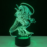 7 Color Change Alien Night Light Home Decor Bedroom 3D Acrylic LED Art Lamp Remote Control + Touch Tape Packaging WC606 T40