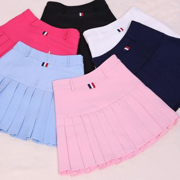2017 Summer High Waist Ball Pleated Brand Midi Preppy Skirts Harajuku Girls Solid A-line Sailor Pants Skirt Plus School Uniform