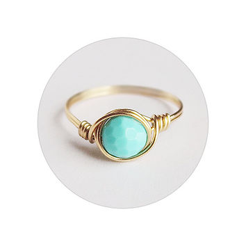 Faceted Turquoise Ring - unique rings