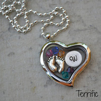Glass Heart Memory Locket- Custom Hand Stamped Initial, Charm and Swarovski Birth Stones Included