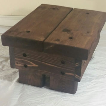 Rustic Step Stool, wooden, handmade  (Red Mohagony)