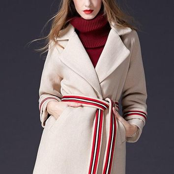 Wool Coat W/ Contrast Belt