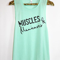 Muscles and Manicures. Workout clothes. Marathon tank. Woman's Muscle Tank. Bride tank. Running Tank. Crossfit Tank Top.