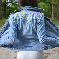 Sexy Studded Denim Jacket size XS S