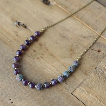 Amethyst Essential Oil Diffuser Necklace