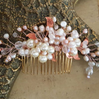 Rose Gold Wedding Hair Comb,  Freshwater Pearl  and Crystal Wedding Hair Piece, Bridal Hair Piece ,  Rose Gold Hair Comb, Blush pearl comb
