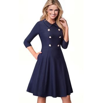 Elegant Women Button Pocket Tunic Vintage Work Office Business Casual Vestidos Fit and Flare A Line Skater Dress EA070