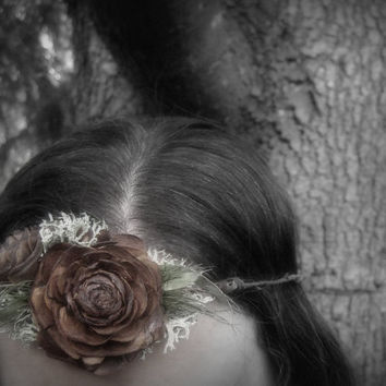 Woodland Rose Floral Crown - Adjustable Wood Rose Head Wreath -  Cedar Rose, Lichen & Willow Eucalyptus