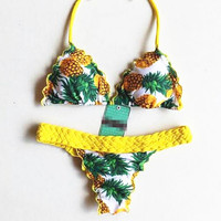 Halter hot summer swimsuit yellow weave pineapple print two piece bikini set