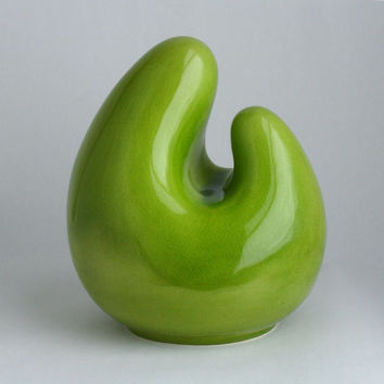 Bright Green Abstract Modern Ceramic Sculpture Crackle by Abbyzero