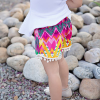 Girls Printed Pom Pom Short- Pink