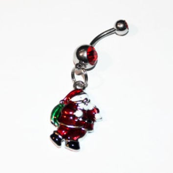 Santa Claus, Belly Button Ring, Christmas Jewelry, Navel Ring, Belly Piercing, Gift For Her, Stocking Stuffer