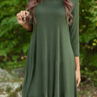 Army Green Asymmetrical Pleated Dress