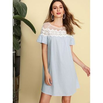Blue Round Neck Mesh Shoulder Striped Shift Dress